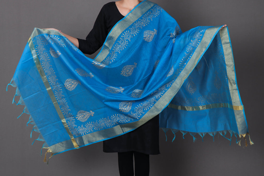 Jaipur Gold Printed Silk Cotton Dupatta