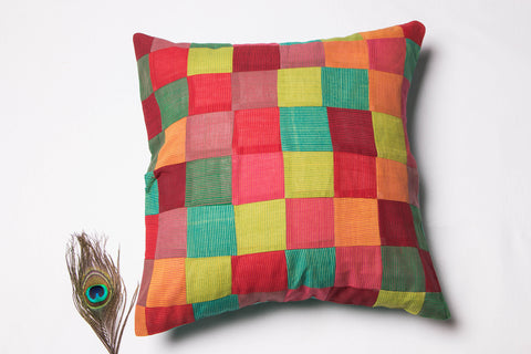 Mangalgiri Patchwork Cotton Cushion Cover (16in x 16in)
