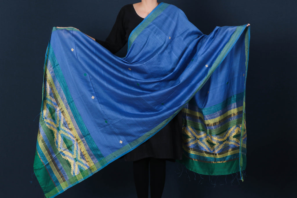 Special Jamdani Pure Handwoven Silk Cotton Zari & Ghicha Border Dupatta with Tassels from Bengal