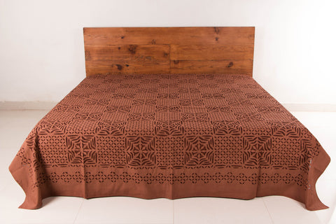 Barmer Applique Cotton Double Bedcover by GVCS (108 inches x 96 inches)