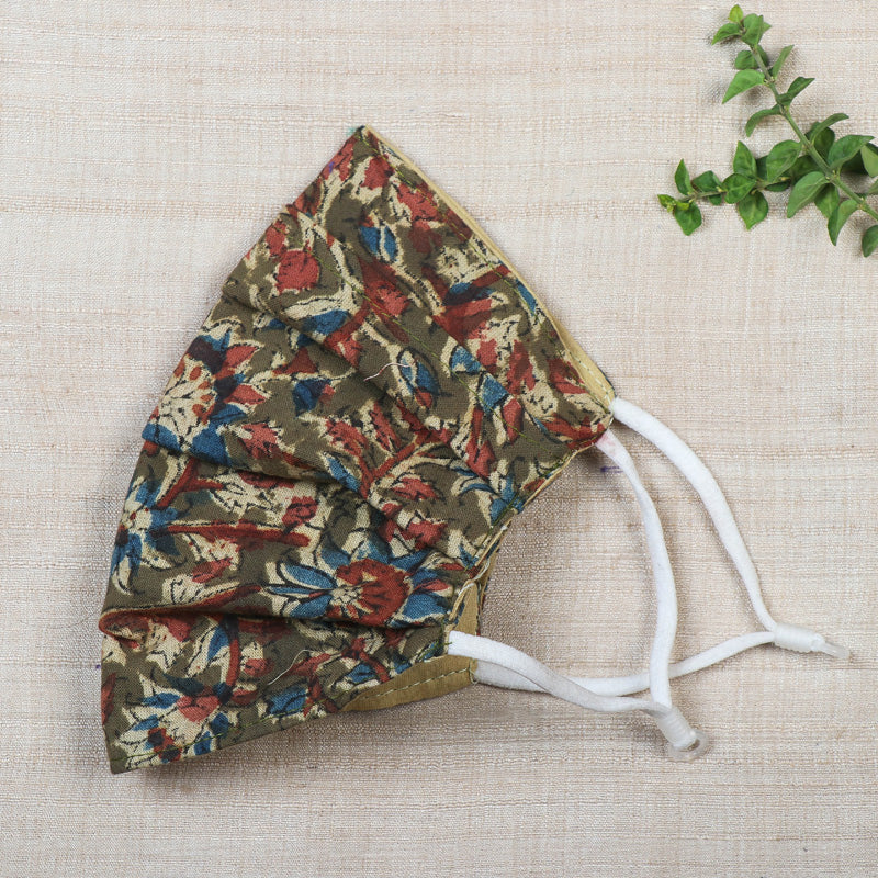 Kalamkari Block Print Cotton 3 Layer Pleated Face Cover with Filter Pocket