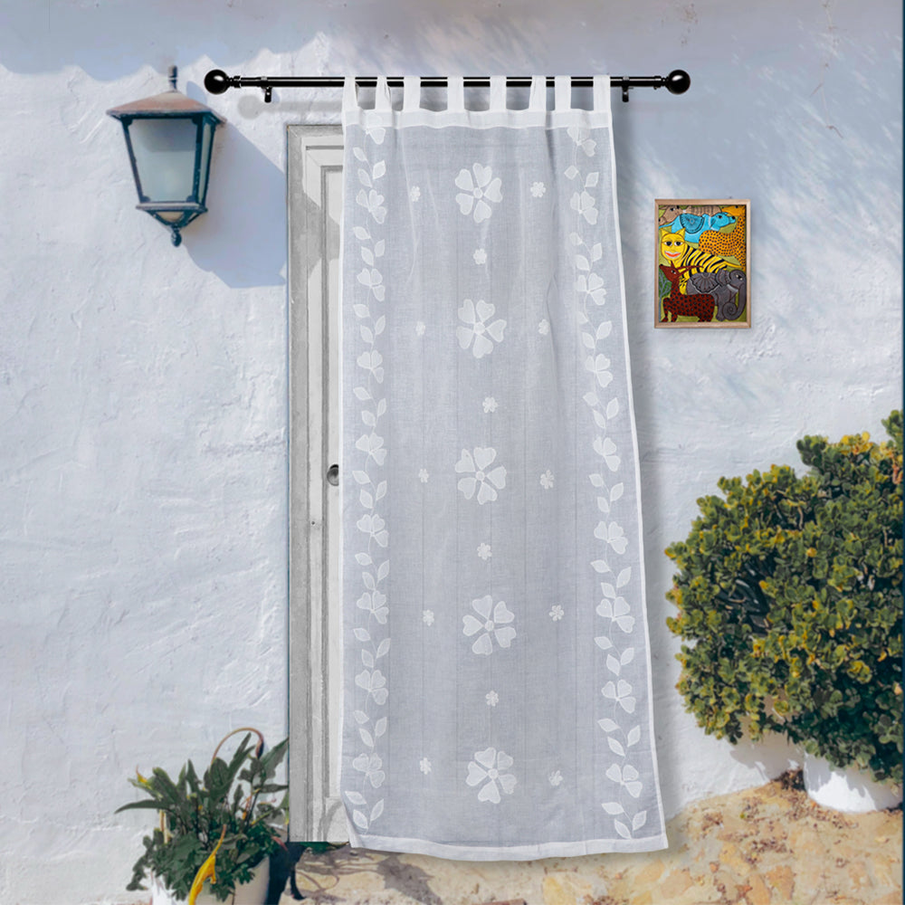 Patti Kaam Applique Work Pure Cotton Door Curtain from Rampur (7 x 3.5 feet)