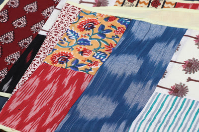 Block Printed Patchwork Cotton Table Runner