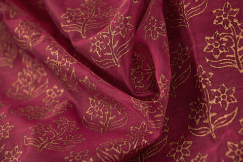 Special Indore Gold Block Print Maheshwari Silk Fabric