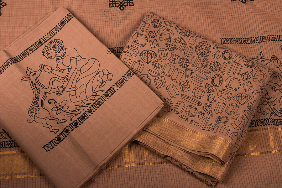 Original Mangalgiri Screen Print Cotton 3pc Suit Material with Zari Border