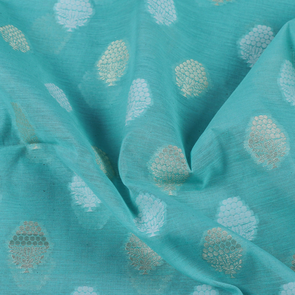 Pure Banarasi Handwoven Cutwork Zari Buti Silk Cotton Fabric