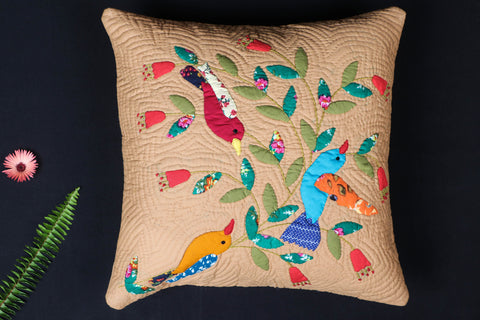 Applique Quilted Cushion Cover (15in x 15in)