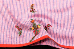 Kashidakari Hand Embroidery Cotton Blouse Piece by Zahoor from Kashmir