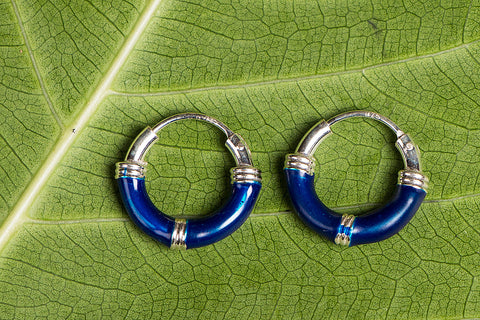 Pihu Enamel Sterling Silver Hoop Bali Earrings