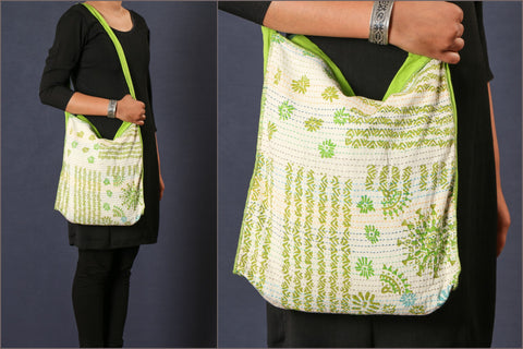 Kantha Patch Work Block Print Sling Bag
