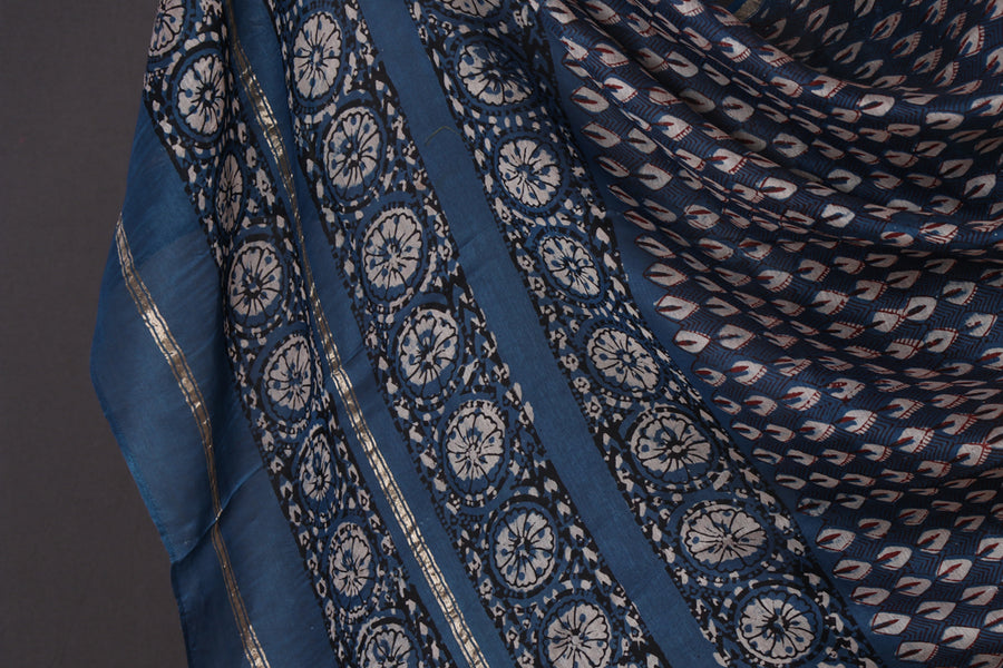 Traditional Pipad Block Print Chanderi Silk Natural Dyed Dupatta