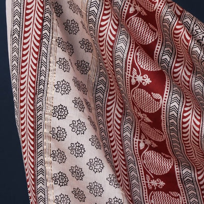3pc Bagh Block Print Natural Dyed Chanderi Silk Suit Material Set