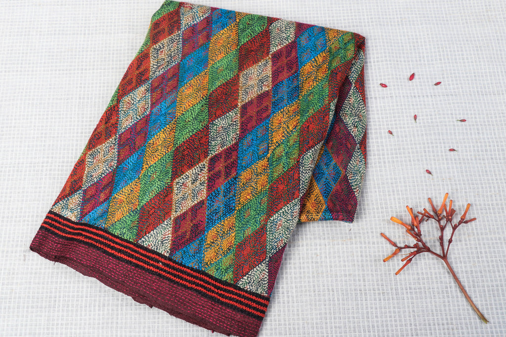 Special Heavy Kantha Hand Embroidered Handwoven Tussar Silk Block Printed Blouse Piece