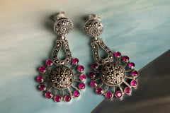 Sylvia Sterling Silver Marcasite Natural Stone Stud Earring