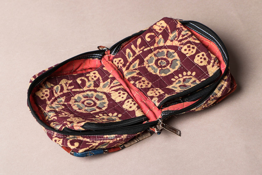 Printed Cotton Fabric 4 Pockets Jewelry Bag