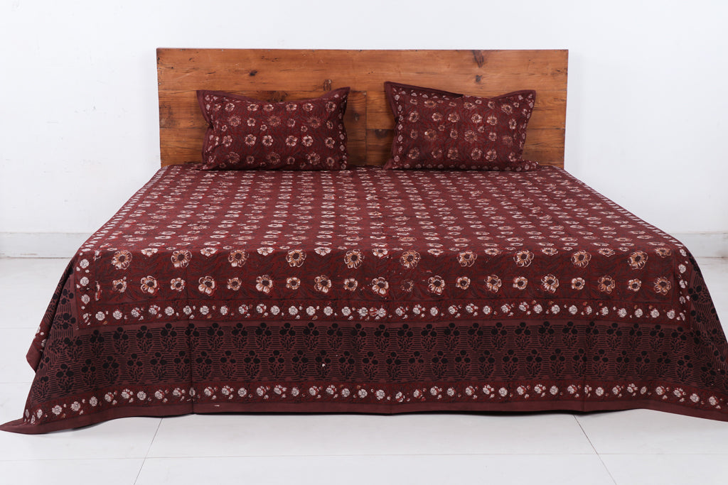 Jahota Hand Block Printed Cotton Double Bed Cover with Pillow Covers - 111in x 94.5in