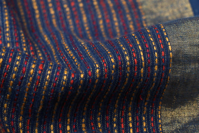 Special Kantha Hand Embroidered Handwoven Pure Cotton Zari Weave Blouse Piece