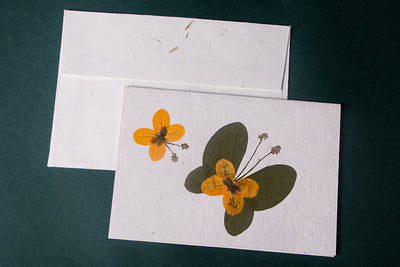 Flower Art Handmade Paper Greeting Card - Single Piece