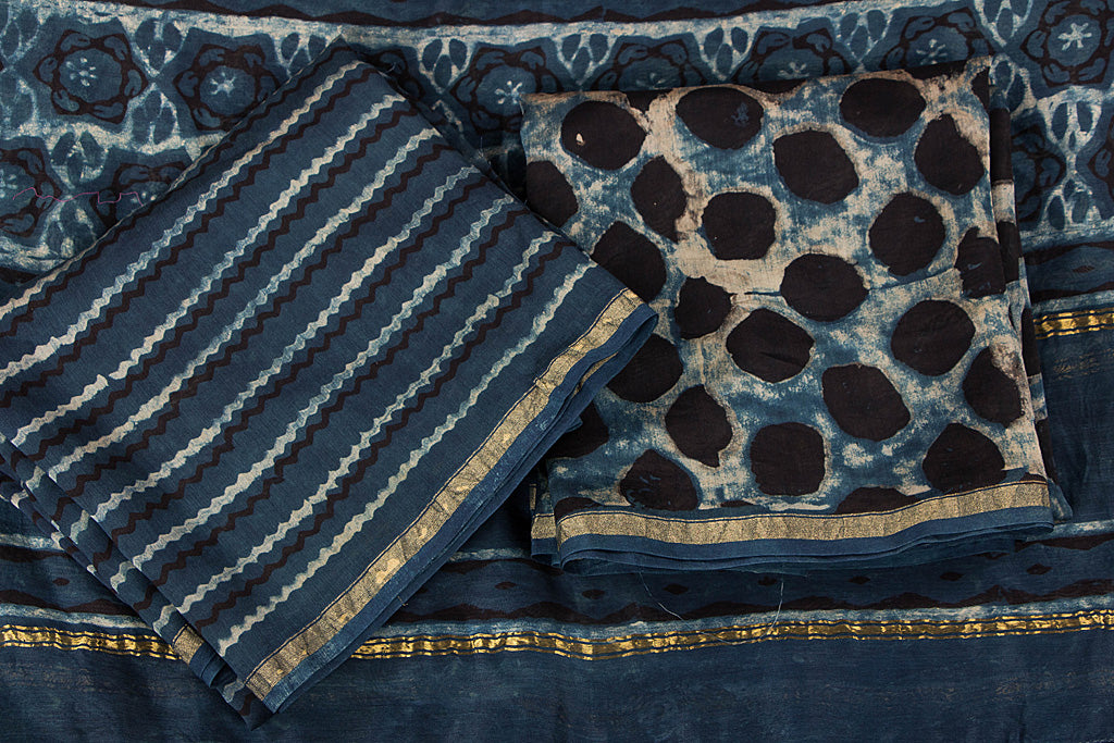 Special Akola Print Chanderi Silk Handloom 3pc Dress Material Set with Zari