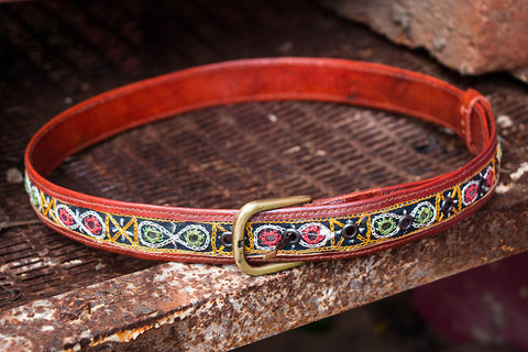 Mirror Work Kutch Embroidery Pure Leather Belt (Upto 34 inches)