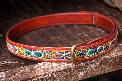 Mirror Work Kutch Embroidery Pure Leather Belt (Upto 30 inches)