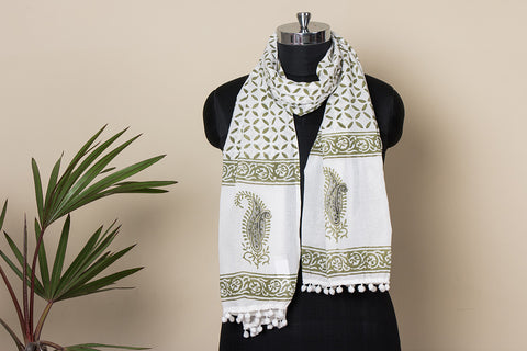 Sanganeri Block Printed Soft Cotton Stole with Pom Pom