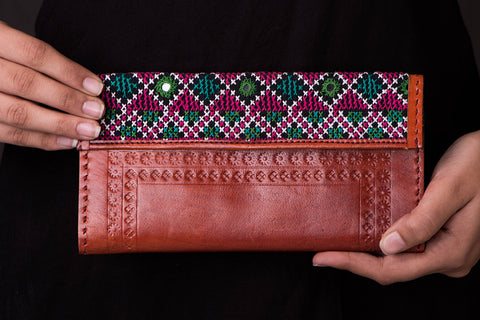 Handcrafted Kutch Leather Embroidered Clutch Wallet