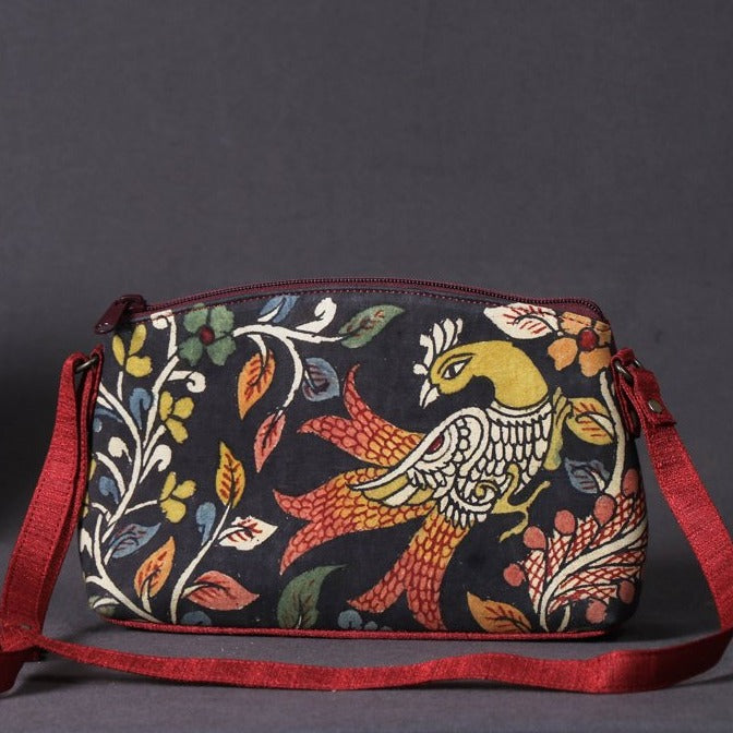 Sling Bag - Handpainted Kalamkari Natural Dyed Ghicha Silk