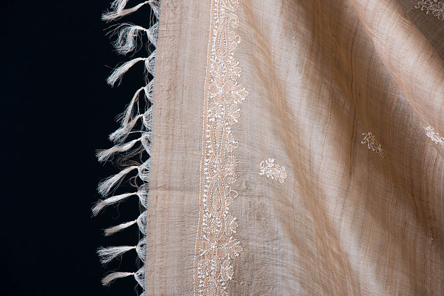 Lucknowi Chikankari Embroidered Tussar Silk Handwoven 2pc Suit Material