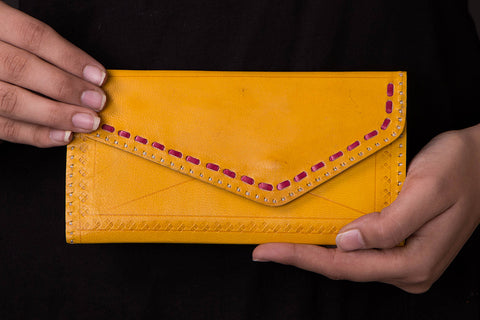 Handcrafted Kutch Leather Three Fold Clutch Wallet