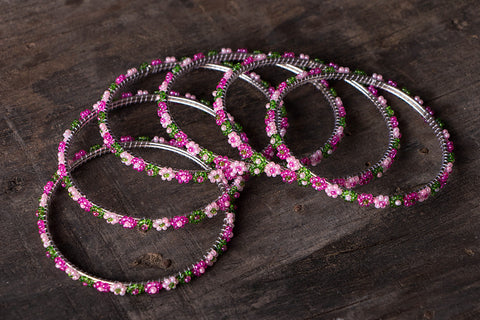 Hapur Flower Beadwork Bangles by Aagaz (Set of 6)