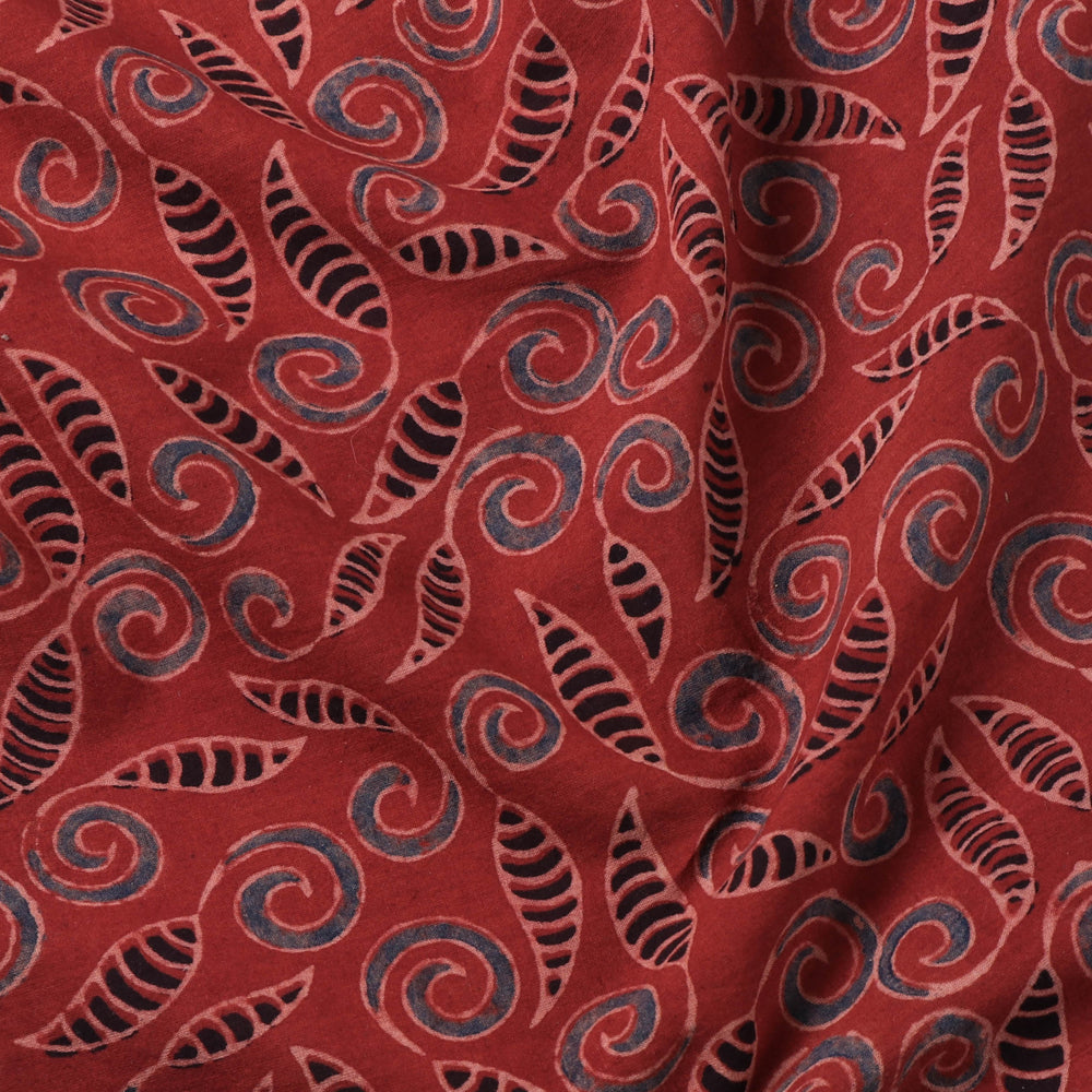 Ajrakh Natural Dyed Hand Block Prints Cotton Fabric