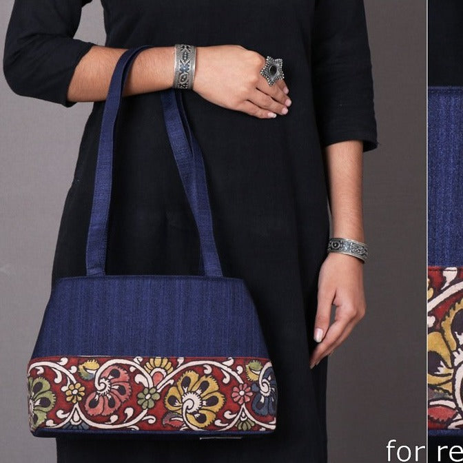 Handpainted Kalamkari Natural Dyed Ghicha Silk Shoulder Bag
