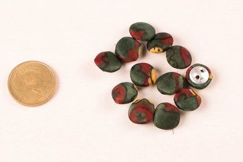 Ajrakh Silk Fabric Buttons Mini (Set Of 12 )