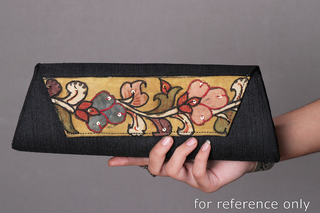 Handpainted Kalamkari Natural Dyed Ghicha Silk Clutch Wallet