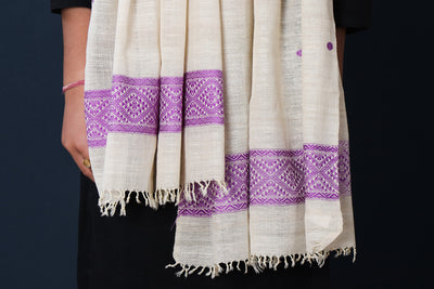 Traditional Pure Handloom Weave Eri Cotton Stole from Assam
