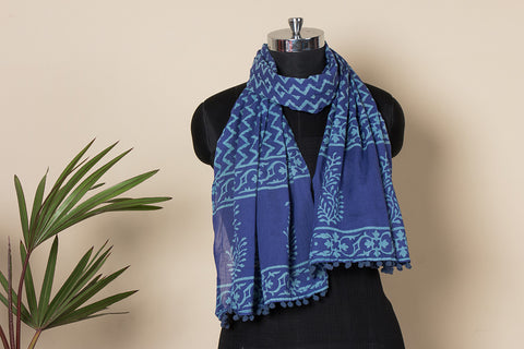 Block Printed Soft Cotton Stole with Pom Pom