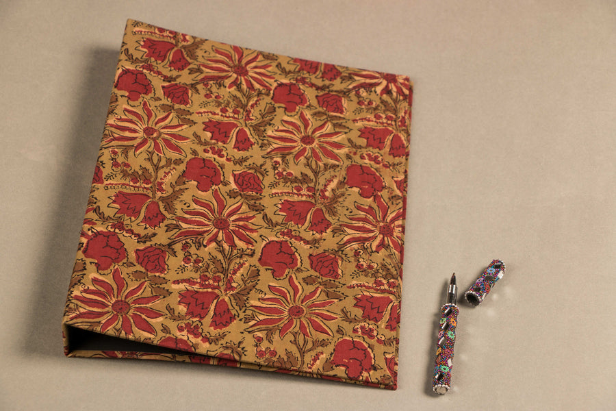 Handmade Ring File Folder with Block Print Fabric