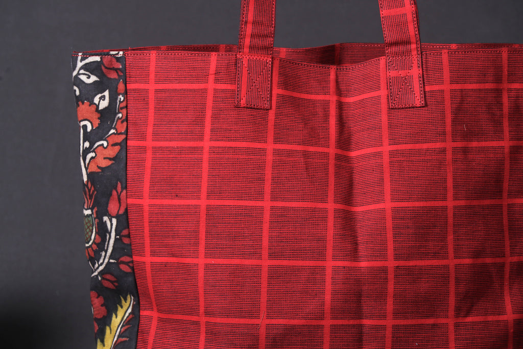 Shoulder Bag - Handpainted Kalamkari Natural Dyed Ghicha Silk