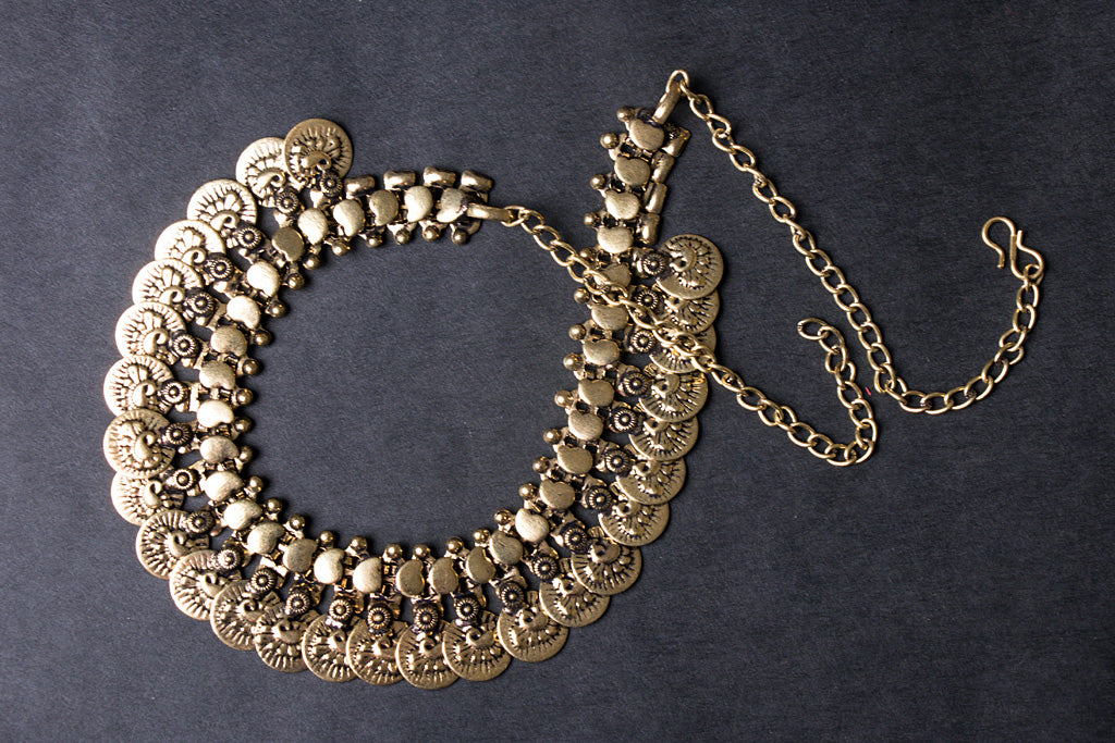 Antique Finish German Silver Kohlapuri Necklace