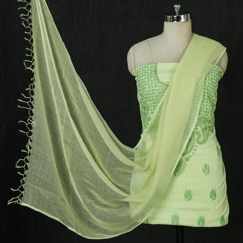 Chikankari Hand Embroidered Cotton 2pc Suit Material with Kota Doria Dupatta