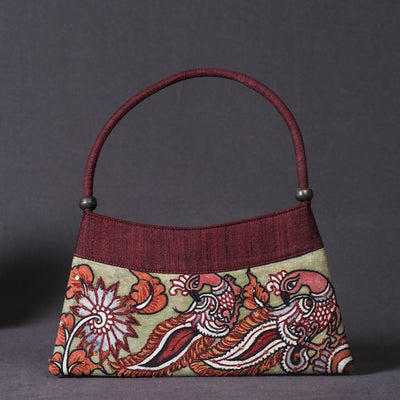 Hand Bag - Handpainted Kalamkari Natural Dyed Ghicha Silk
