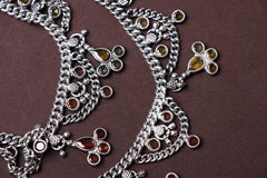 Traditional Silver Chandi Payal with Beads & Stones (Pair)