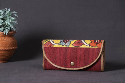 Jhola Bag - Handpainted Kalamkari Natural Dyed Ghicha Silk