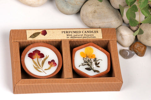 Sri Aurobindo Ashram - Terracotta Candle Gift Set (Assorted)