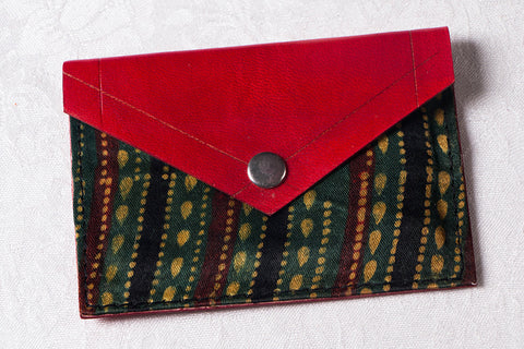 Handcrafted Kutch Leather Mashru Silk Card Holder