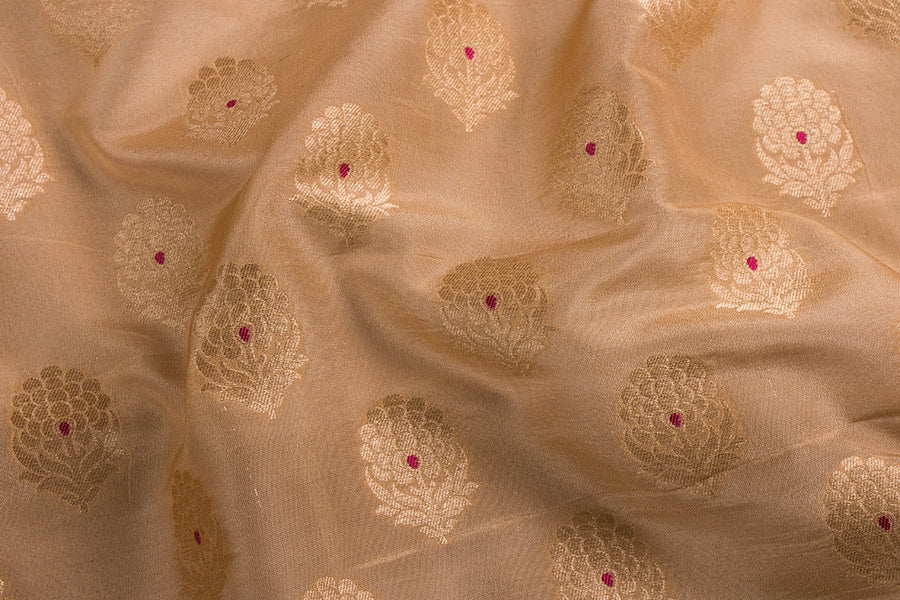 Traditional Banarasi Pure Katan Silk Handwoven Zari Meena Work Fabric