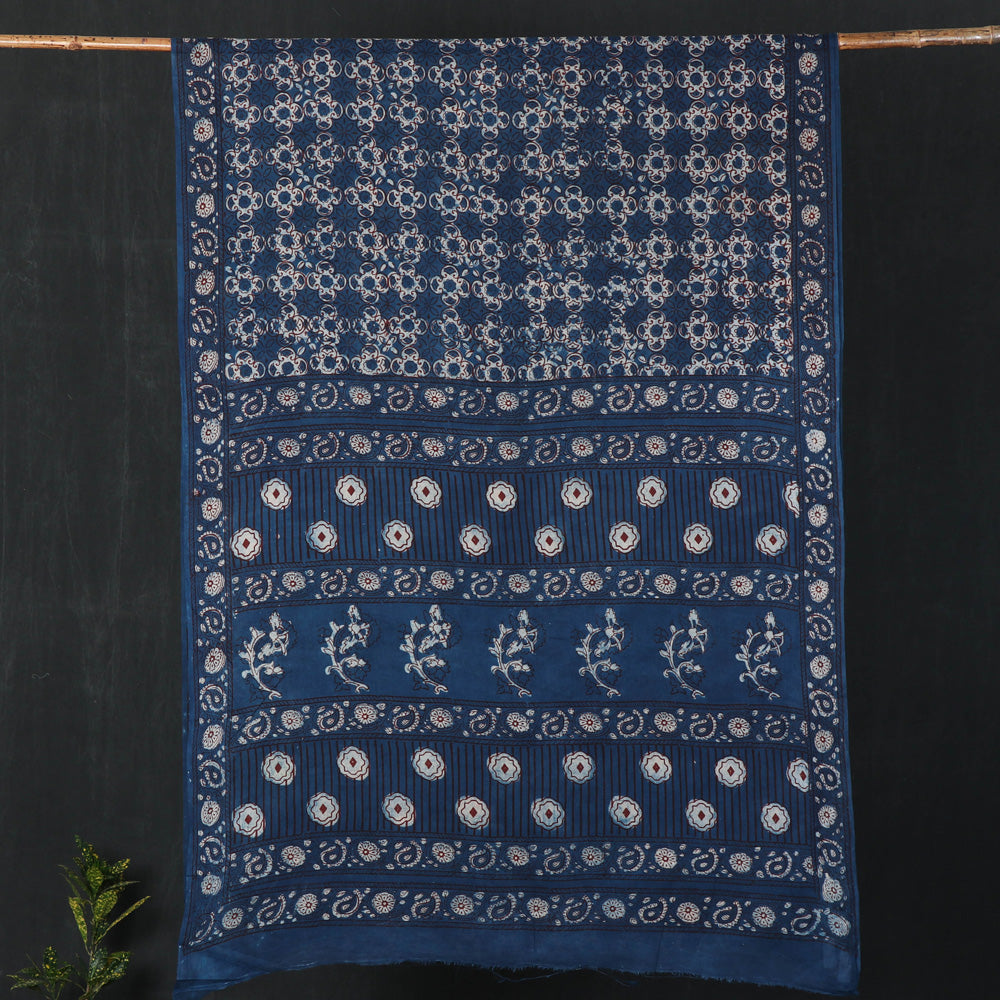 Nandana Dabu Print Indigo Natural Dye Cotton Saree from Tarapur