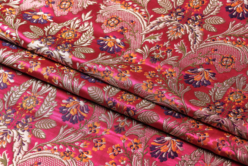 Pure Banarasi Brocade Kinkhab Handwoven Semi Silk Fabric