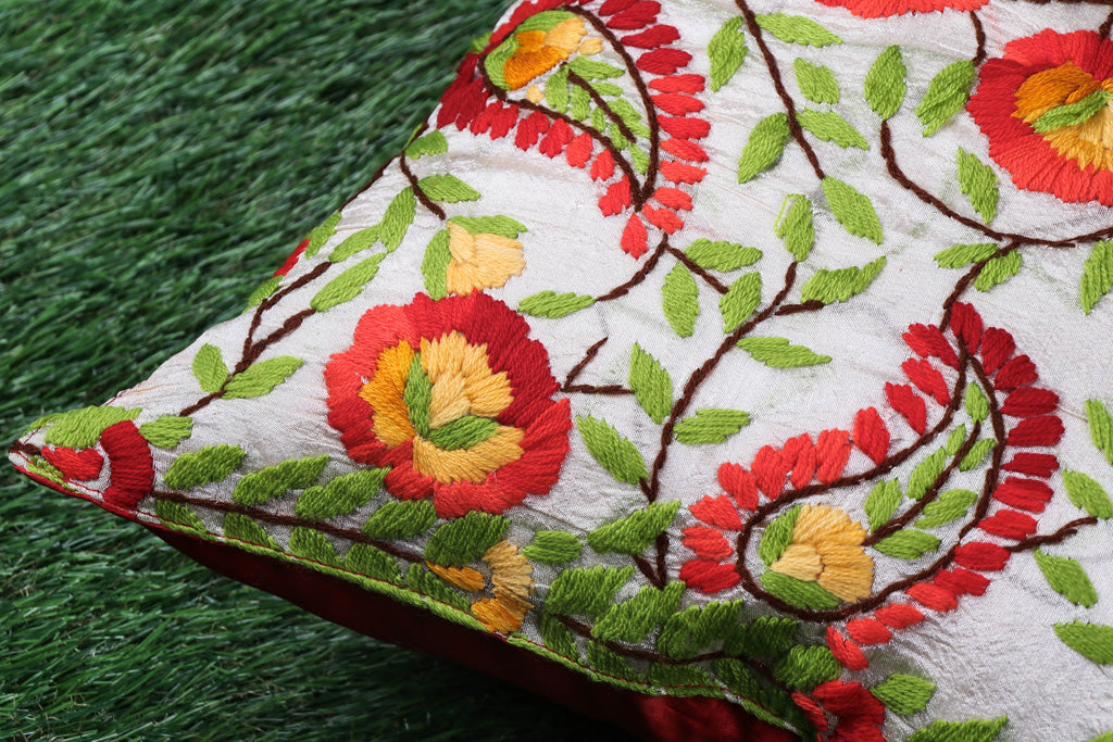 Phulkari Hand Embroidered Chanderi Silk Cushion Cover  (16 x 16 in)